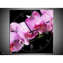 Wandklok op Canvas Orchidee | Kleur: Paars, Wit, Zwart | F000171C