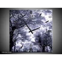 Wandklok op Canvas Bomen | Kleur: Grijs, Wit, Zwart | F000186C