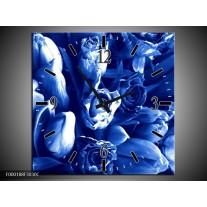 Wandklok op Canvas Bloemen   Kleur: Blauw, Wit   F000188C