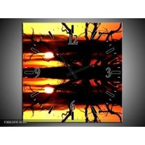 Wandklok op Canvas Zonsondergang   Kleur: Oranje, Zwart, Geel   F000209C