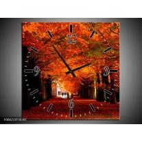 Wandklok op Canvas Park   Kleur: Rood, Bruin, Zwart   F000211C