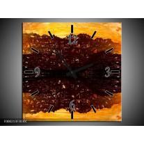 Wandklok op Canvas Abstract | Kleur: Bruin, Oranje, Zwart | F000213C