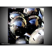 Wandklok op Canvas Ballen | Kleur: Grijs, Zilver, Wit | F000223C