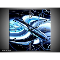 Wandklok op Canvas Abstract | Kleur: Blauw, Wit, Zwart | F000231C