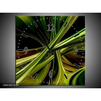 Wandklok op Canvas Abstract | Kleur: Groen, Zwart, Geel | F000240C