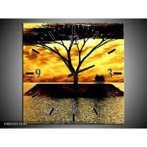 Wandklok op Canvas Eiland | Kleur: Geel, Zwart, Bruin | F000241C