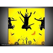 Wandklok op Canvas Dansen | Kleur: Geel, Zwart, Oranje | F000246C