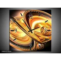 Wandklok op Canvas Abstract | Kleur: Goud, Geel, Zwart | F000247C