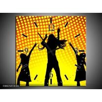 Wandklok op Canvas Dansen   Kleur: Zwart, Geel, Oranje   F000250C