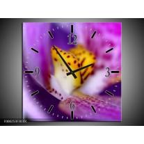 Wandklok op Canvas Bloem   Kleur: Paars, Geel, Wit   F000253C