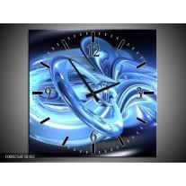 Wandklok op Canvas Abstract   Kleur: Blauw, Wit, Zwart   F000258C