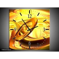 Wandklok op Canvas Abstract | Kleur: Geel, Goud, Oranje | F000267C