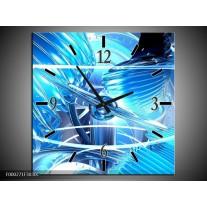 Wandklok op Canvas Abstract   Kleur: Blauw, Wit, Grijs   F000271C