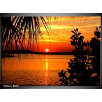 Glas schilderij Zonsondergang | Oranje, Geel, Bruin