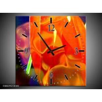 Wandklok op Canvas Abstract   Kleur: Rood, Geel, Oranje   F000295C