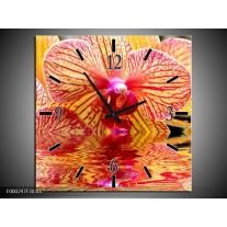 Wandklok op Canvas Orchidee | Kleur: Geel, Rood, Wit | F000297C