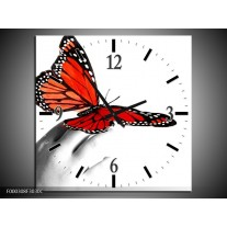 Wandklok op Canvas Vlinder | Kleur: Rood, Wit, Zwart | F000308C