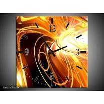 Wandklok op Canvas Abstract | Kleur: Geel, Goud, Bruin | F000310C