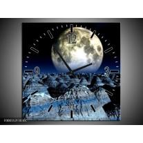 Wandklok op Canvas Maan | Kleur: Blauw, Grijs, Wit | F000312C