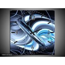 Wandklok op Canvas Abstract | Kleur: Blauw, Grijs, Wit | F000313C