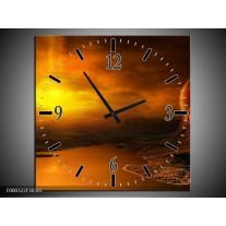 Wandklok op Canvas Zonsondergang | Kleur: Geel, Bruin, Oranje | F000322C
