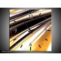Wandklok op Canvas Abstract | Kleur: Geel, Zilver, Zwart | F000323C