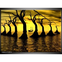 Foto canvas schilderij Zonsondergang | Geel, Zwart, Bruin