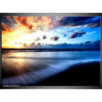 Foto canvas schilderij Zee | Blauw, Geel, Zwart