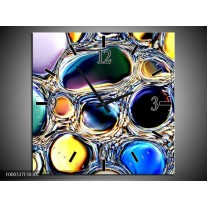 Wandklok op Canvas Cirkels | Kleur: Paars, Blauw, Geel | F000337C