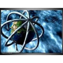 Foto canvas schilderij Wereld | Blauw, Groen