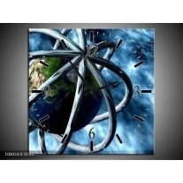 Wandklok op Canvas Wereld | Kleur: Blauw, Groen | F000343C