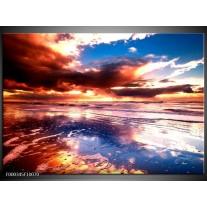 Foto canvas schilderij Zonsondergang | Paars, Blauw, Wit
