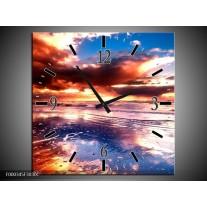 Wandklok op Canvas Zonsondergang | Kleur: Paars, Blauw, Wit | F000345C