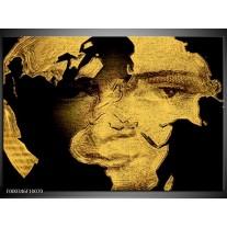Foto canvas schilderij Gezicht   Zwart, Creme, Bruin