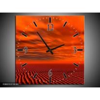 Wandklok op Canvas Landschap | Kleur: Rood, Zwart, Oranje | F000351C