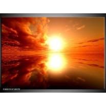 Foto canvas schilderij Zonsondergang | Geel, Rood, Oranje