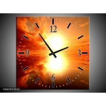 Wandklok op Canvas Zonsondergang | Kleur: Geel, Rood, Oranje | F000355C