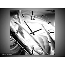 Wandklok op Canvas Abstract | Kleur: Grijs, Zilver, Wit | F000357C
