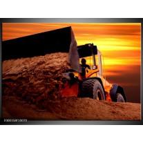 Foto canvas schilderij Tractor | Bruin, Geel, Oranje