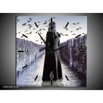 Wandklok op Canvas Vrouw | Kleur: Zwart, Grijs, Wit | F000368C