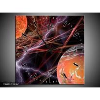 Wandklok op Canvas Bliksem | Kleur: Paars, Bruin, Zwart | F000372C