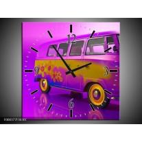 Wandklok op Canvas Auto   Kleur: Paars, Geel, Zwart   F000377C