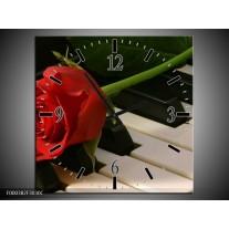 Wandklok op Canvas Roos | Kleur: Rood, Rood, Zwart | F000382C
