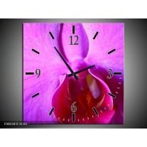 Wandklok op Canvas Orchidee | Kleur: Paars, Wit | F000383C