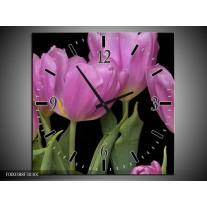 Wandklok op Canvas Tulpen   Kleur: Paars, Groen, Zwart   F000388C