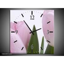 Wandklok op Canvas Tulpen | Kleur: Roze, Wit, Groen | F000389C