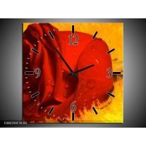 Wandklok op Canvas Roos | Kleur: Rood, Geel, Goud | F000394C