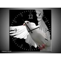 Wandklok op Canvas Vogel | Kleur: Wit, Zwart, Grijs | F000402C
