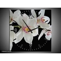 Wandklok op Canvas Orchidee   Kleur: Wit, Zwart, Geel   F000403C