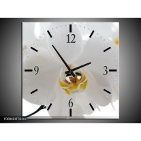Wandklok op Canvas Orchidee | Kleur: Wit, Geel,, Zwart | F000404C